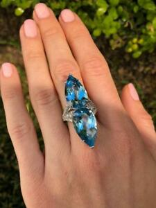 Aquamarine Gemstone 925 Silver Women's Fine Blue Ring Pear Shapes 48.00 Carat