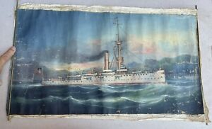 Antique Vintage Fong Oil Painting of US Navy Great White Fleet Warship