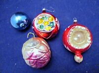 CHRISTMAS ORNAMENTS, SET OF4 GLASS,MULTI-COLOR SMALL SET,VINTAGE 1-3 INCHES