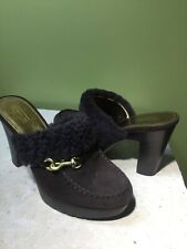COACH IDYLE Brown Suede /  Fur Mule Heel Shoes Womens 9 B - Worn Once
