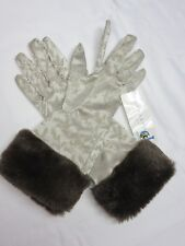 Portolano Satin Fur Cuff Gloves Size S  Luxury & Stylish New w/tag
