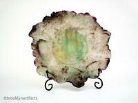 Vintage Daum Pate de Verre Art Glass Fruit Plate - Nature Collection Green