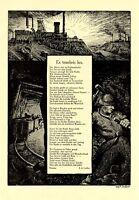 Kohle Bergbau XL Kunstdruck 1912 & Gedicht Vom Licht ins Dunkel von F.A. Geißler
