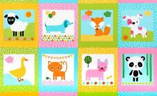 "Fabric Baby Urban Zoologie Spring Animals on Cotton Panel 24""x42"""
