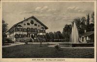 Bad Aibling Bayern alte AK~1920/30 Partie am Kurhaus mit Lesehalle Springbrunnen