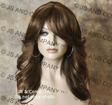 Human Hair Blend Wig Med length Layered open curls Bangs Brown mix st 4-27-30
