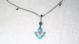 Belly Chain Blue Crystal Rhinestone Fan Belly Button Ring Jewelry Dancer Sexy