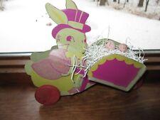 Vintage Heavy Cardboard Easter Bunny & Wood wheels wheelbarrow Wagon decor