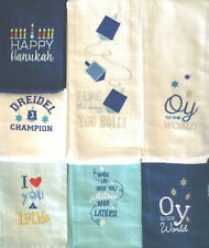 *WHIMSICAL CHANUKAH EMBROIDERED LINEN TOWELS HAPPY DREIDEL CHAMPS OY 2 THE WORLD