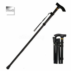 Easy Adjustable Walking Stick Folding Walking Cane Lightweight Collapsible Black