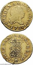 SPAIN GOLD COIN 1/2 ESCUDO MADRID JB FERDINAND VI 1757 AD