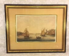 Antique Dutch Boat & Village Scene Watercolor Painting in Wood Frame Under Glass