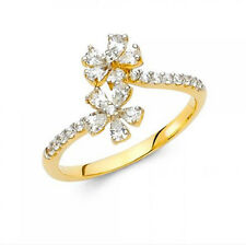 14K Genuine Yellow Gold Fancy Flower Ring with Man made Diamonds