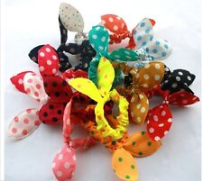 5 x Colorful Rabbit Ear Bow Hair Ring Stretch Hair tie Ponytail Holder