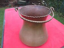 LARGE HAND HAMMERED COPPER KETTLE HOUR GLASS SHAPE BRASS HANDLE FIREWOOD HOLDER