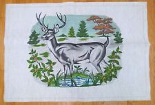 """New listing Tri-Chem Vintage Pattern - Deer by a Pond - Partially Done - Rayon - 38"""" x 26"""""""