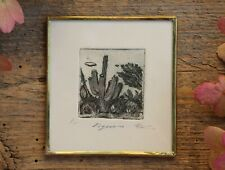 Saguaro Cactus Landscape Etching Print Black Ink Framed Mexico Folk Art - Abelar