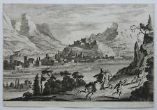 Melchior KUSELL d'après BAUR, cavalier, cerf, chasse, eau forte originale XVIIe