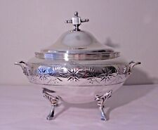 ANTIQUE MERIDEN CONN. CO. SILVERPLATE SOUP TUREEN W/ CHASED FLOWERS & LEAFS