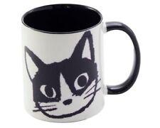 "Japanese 3.75""H Porcelain Sushi Tea Mug Cup Kawaii Black Happy Cat Made in Japan"