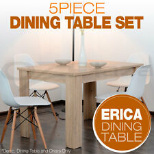 Set of 1x Wooden Dining Table + 4x Eames Replica DSW Retro Dining Chairs WH