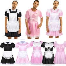 Mens Halloween Maid Fancy Costume Sissy Crossdressing Satin Dress Party Clubwear