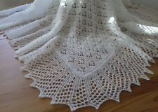 "Stunning Hand Knitted Shetland Lace Pattern 2 ply Baby Shawl White 42"" x 42"""