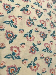 Vintage 2+ Yards Floral Print Flannel Fabric Oatmeal, Teal & Pink