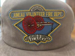 Vintage 90s 80s Corduroy Juneau Alaska Fire Dept Trucker Hat Grey Rope