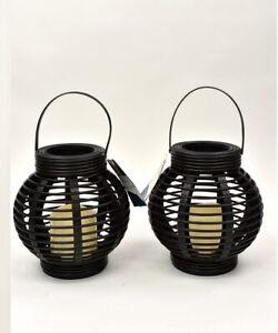 Pair of Cage Decorative Candle Lanterns Holder Outdoor Indoor Garden Black