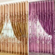 Room Floral Tulle Voile Window Curtain Balcony Screening Drapes Scarf Valances
