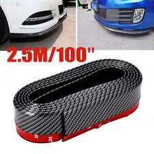 Car Body Front Bumper Spoiler Lip Skirt Carbon Fiber Protector Valance Chin 2.5M