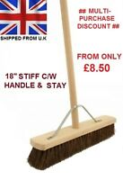 "18"" Stiff Broom C/W Handle & Stay Brush Sweeping Industrial Yard Outdoor Strong"