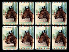 """VINTAGE """"ALSAB"""" RACE HORSE-ART LITHO SWAP CARDS BY LIAL (LOT OF 8) HIGH GRADE!"""