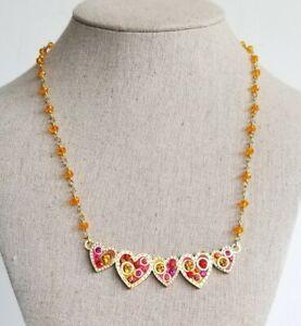 Rare Michael Golan 5 Heart Multicolored Swarovski Crystal Panel Necklace