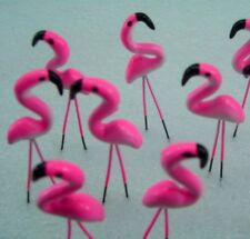 MINIATURE DOLLHOUSE PINK FLAMINGO  CLAY FAIRY GARDEN COLOR BUAETIFUL10 PCS