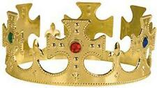 MIDIEVAL STYLE GOLD KING CROWN WITH CROSSES & JEWELS mens costume hat kings new