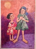 African American / Haitian Painting, Art, signed, Oil on Canvas Board, Unframed