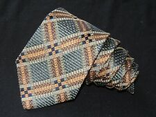 "Ermenegildo Zegna MEN'S TIE GREEN BROWN/PLAIDS & CHECKS 3.7/8"" 58"" SILK/WOOL"