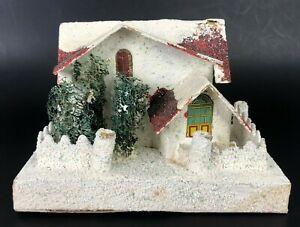 "VTG Putz Christmas Village House JAPAN Mica Glitter Snow Cardboard LARGE 6"" x 4"""