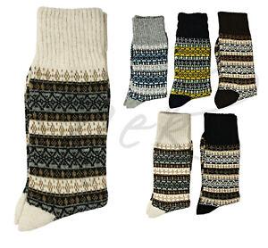 Mens Merino Wool Winter Socks, 1-6 Pack Printed Walking Boot Socks Thermal Socks