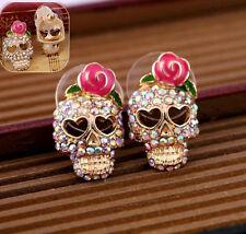 Vogue Women Studs Jewelry Pink Rose Rhinestone Skeleton Skull Ear Earrings