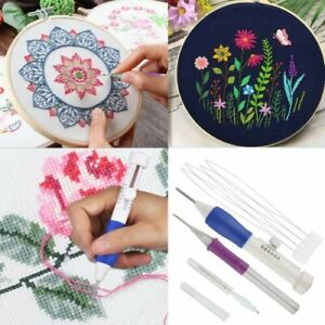 DIY Punch Needle Magic Embroidery Pen Set Stitching Thread Tool Sewing Craft Kit