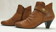 TAMARIS Ladies Womens Boots Size UK 4 EU 37 Brown Leather Ruched Ankle Boots