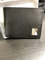 VERSACE COLLECTION Men's Black Saffiano Leather Medusa Logo Bifold Wallet