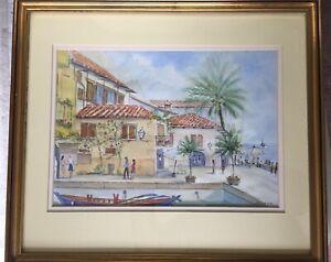 Original Framed Watercolour Limone, Lake Garda, by Douglas Chick