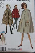 Simplicity Sewing Pattern S0985 Vintage Cape 1960's Size 14 16 18 20 22 UnCut