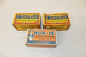 3 Vintage Unused Shortening Butter Boxes Gold Tint & Nux-Ie