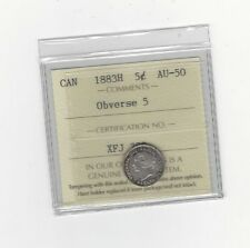 **1883H Obv.#5** ICCS Graded Canadian,  5 Cent, **AU-50**