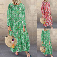 ZANZEA Women Vintage Loose Long Maxi Kaftan Abaya Gown Printed Floral Dress NEW